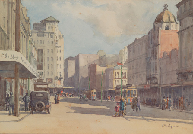 Trams and Shoppers, Queen Street, Auckland